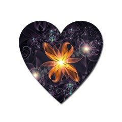 Beautiful Orange Star Lily Fractal Flower At Night Heart Magnet by jayaprime
