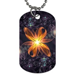 Beautiful Orange Star Lily Fractal Flower At Night Dog Tag (one Side) by jayaprime