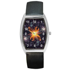 Beautiful Orange Star Lily Fractal Flower At Night Barrel Style Metal Watch by jayaprime