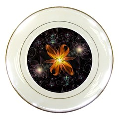 Beautiful Orange Star Lily Fractal Flower At Night Porcelain Plates by jayaprime
