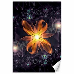 Beautiful Orange Star Lily Fractal Flower At Night Canvas 12  X 18   by jayaprime
