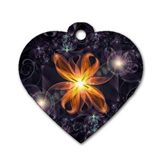 Beautiful Orange Star Lily Fractal Flower At Night Dog Tag Heart (one Side) by jayaprime