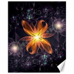 Beautiful Orange Star Lily Fractal Flower At Night Canvas 11  X 14   by jayaprime