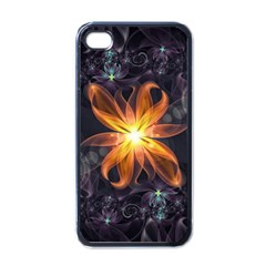 Beautiful Orange Star Lily Fractal Flower At Night Apple Iphone 4 Case (black) by jayaprime