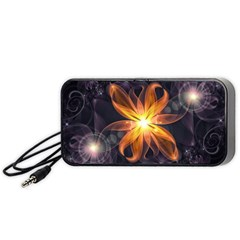 Beautiful Orange Star Lily Fractal Flower At Night Portable Speaker by jayaprime