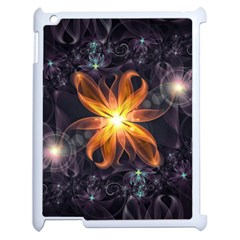 Beautiful Orange Star Lily Fractal Flower At Night Apple Ipad 2 Case (white) by jayaprime