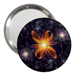 Beautiful Orange Star Lily Fractal Flower At Night 3  Handbag Mirrors by jayaprime