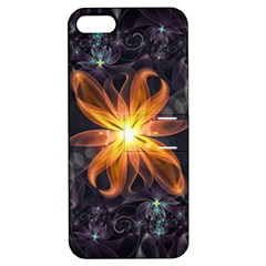 Beautiful Orange Star Lily Fractal Flower At Night Apple Iphone 5 Hardshell Case With Stand by jayaprime