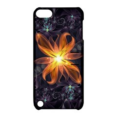 Beautiful Orange Star Lily Fractal Flower At Night Apple Ipod Touch 5 Hardshell Case With Stand by jayaprime