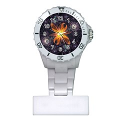 Beautiful Orange Star Lily Fractal Flower At Night Plastic Nurses Watch by jayaprime