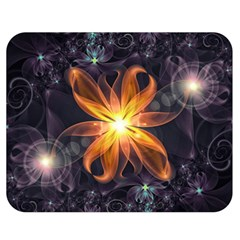 Beautiful Orange Star Lily Fractal Flower At Night Double Sided Flano Blanket (medium)  by jayaprime