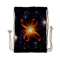 Beautiful Orange Star Lily Fractal Flower At Night Drawstring Bag (small) by jayaprime