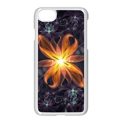 Beautiful Orange Star Lily Fractal Flower At Night Apple Iphone 7 Seamless Case (white) by jayaprime
