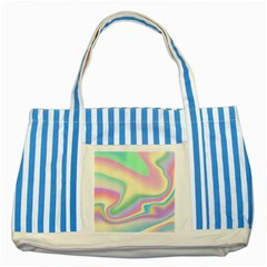 Holographic Design Striped Blue Tote Bag by tarastyle