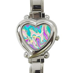 Holographic Design Heart Italian Charm Watch