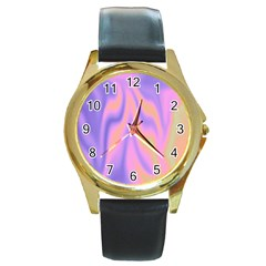 Holographic Design Round Gold Metal Watch