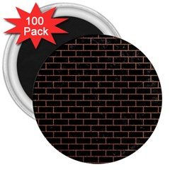 Brick1 Black Marble & Brown Denim (r) 3  Magnets (100 Pack)