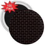 BRICK1 BLACK MARBLE & BROWN DENIM (R) 3  Magnets (100 pack) Front
