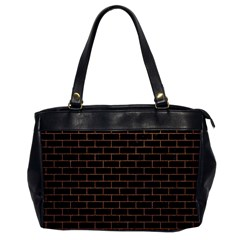 Brick1 Black Marble & Brown Denim (r) Office Handbags by trendistuff