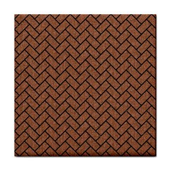 Brick2 Black Marble & Brown Denim Tile Coasters by trendistuff