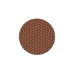 Brick2 Black Marble & Brown Denim Golf Ball Marker by trendistuff