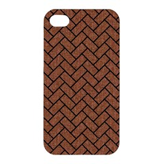 Brick2 Black Marble & Brown Denim Apple Iphone 4/4s Hardshell Case by trendistuff