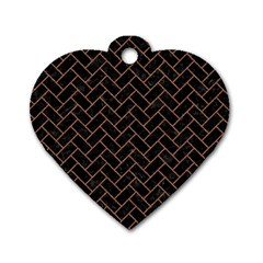 Brick2 Black Marble & Brown Denim (r) Dog Tag Heart (two Sides) by trendistuff