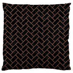 Brick2 Black Marble & Brown Denim (r) Large Cushion Case (one Side) by trendistuff
