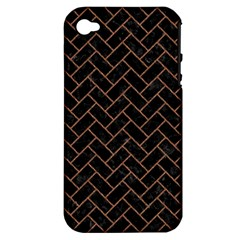 Brick2 Black Marble & Brown Denim (r) Apple Iphone 4/4s Hardshell Case (pc+silicone) by trendistuff