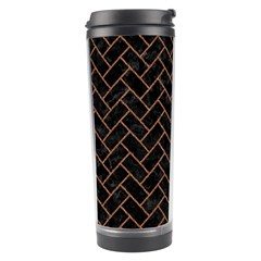 Brick2 Black Marble & Brown Denim (r) Travel Tumbler by trendistuff