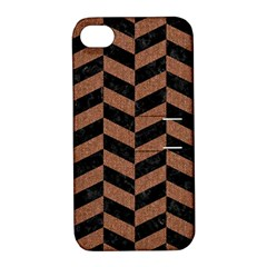 Chevron1 Black Marble & Brown Denim Apple Iphone 4/4s Hardshell Case With Stand by trendistuff