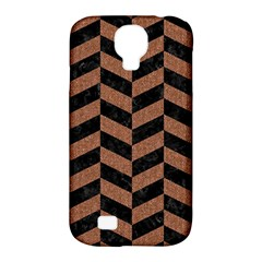 Chevron1 Black Marble & Brown Denim Samsung Galaxy S4 Classic Hardshell Case (pc+silicone) by trendistuff