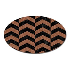 Chevron2 Black Marble & Brown Denim Oval Magnet by trendistuff