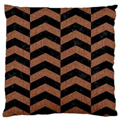 Chevron2 Black Marble & Brown Denim Large Cushion Case (two Sides) by trendistuff
