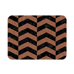 Chevron2 Black Marble & Brown Denim Double Sided Flano Blanket (mini)  by trendistuff