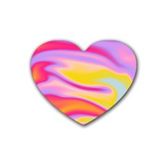 Holographic Design Rubber Coaster (heart)  by tarastyle