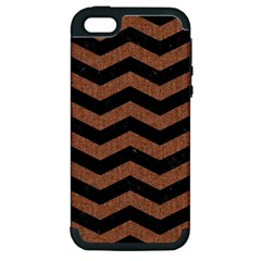 Chevron3 Black Marble & Brown Denim Apple Iphone 5 Hardshell Case (pc+silicone) by trendistuff