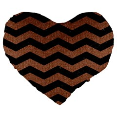 Chevron3 Black Marble & Brown Denim Large 19  Premium Flano Heart Shape Cushions by trendistuff