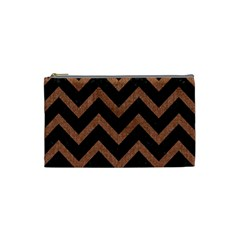 Chevron9 Black Marble & Brown Denim (r) Cosmetic Bag (small)  by trendistuff