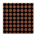 CIRCLES1 BLACK MARBLE & BROWN DENIM (R) Tile Coasters Front