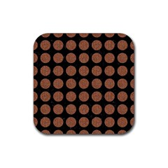 Circles1 Black Marble & Brown Denim (r) Rubber Square Coaster (4 Pack)  by trendistuff