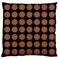 Circles1 Black Marble & Brown Denim (r) Large Cushion Case (one Side) by trendistuff