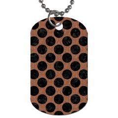 Circles2 Black Marble & Brown Denim Dog Tag (two Sides) by trendistuff