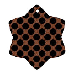 Circles2 Black Marble & Brown Denim Snowflake Ornament (two Sides) by trendistuff