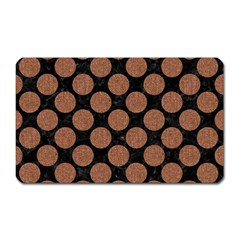 Circles2 Black Marble & Brown Denim (r) Magnet (rectangular) by trendistuff