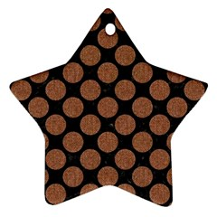 Circles2 Black Marble & Brown Denim (r) Star Ornament (two Sides) by trendistuff