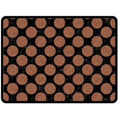 Circles2 Black Marble & Brown Denim (r) Double Sided Fleece Blanket (large)  by trendistuff