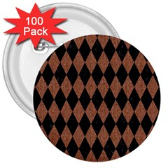 Diamond1 Black Marble & Brown Denim 3  Buttons (100 Pack)