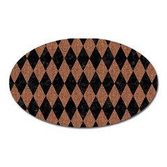 Diamond1 Black Marble & Brown Denim Oval Magnet by trendistuff