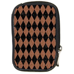 Diamond1 Black Marble & Brown Denim Compact Camera Cases by trendistuff